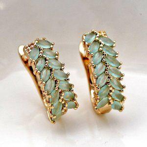 18K Gold Filled Earrings Leaf Sapphire Jade Topaz